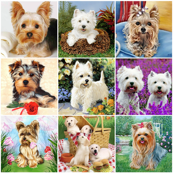 HUACAN Full Drill Diamond Painting Dog New Arrivals Home Decoration Embroidery Animal Art Mosaic - discount item  26% OFF Arts,Crafts & Sewing