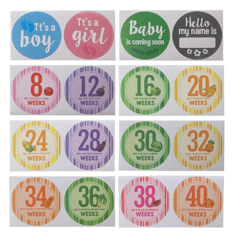16 Pcs/Set Pregnancy Milestone Stickers Women Photography Weekly Belly Clothing Stickers Week 8 - Week 40