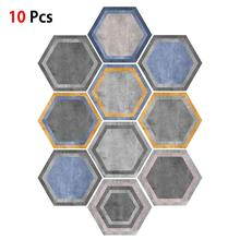 10 PcsSet Hexagon Acrylic Mirror Wall Stickers DIY Art Living Room Mirrored Decorative