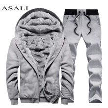 Men hooded Tracksuit Lined Thick Coat Sweatshirt + Pants New Sportswear Jogger Suit 2 Piece Set Brand Male Winter Sets Clothing