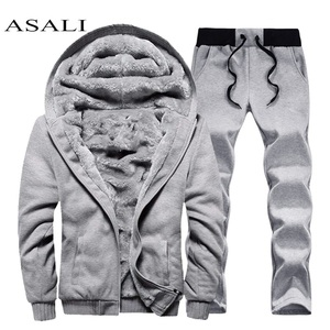 Image 1 - Men hooded Tracksuit Lined Thick Coat Sweatshirt + Pants New Sportswear Jogger Suit 2 Piece Set Brand Male Winter Sets Clothing