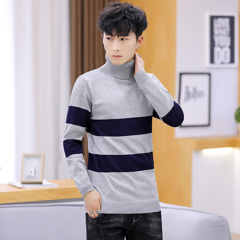 Sweater Men Matching Leisure Color Red Dark Blue Black Light Grey Slim Fit High Collar Pullover Long Sleeve Winter Mens Sweaters