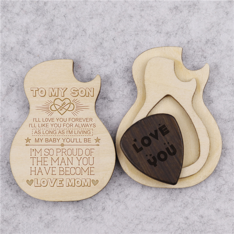 Custom Engraved Wooden Spotify Guitar Pick Box Holder Personalised Spotify Guitar Shape 3 Compartments Paddles Wood Container with 3pcs Picks Practical Musical Instrument Parts