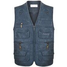 Casual Summer Cotton Denim Vest Men's Fashion Sleeveless Jacket Multi Pocket Photograph Waistcoat  High Quality Vest Plus Size