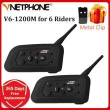 Vnetphone V6 1200 м переговорное bluetooth-устройство для мотоциклетного шлема для мотоцикла 6 ездоков, BT, Беспроводной Водонепроницаемый со встроенным...