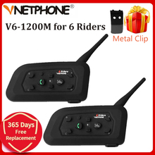 Vnetphone V6 1200M motosiklet Bluetooth kask interkom motosiklet 6 biniciler BT kablosuz su geçirmez interkom kulaklık MP3