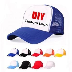 Accept 1 Piece DIY OEM Custom LOGO 100% Polyester Men Women Baseball Cap Mesh Snapback Print Logo Trucker Hat(China)
