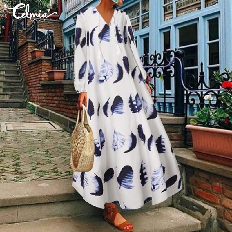 Богемное праздничное платье, женское платье с длинным рукавом и v-образным вырезом, летнее платье с принтом, новинка 2020, модные повседневные ...