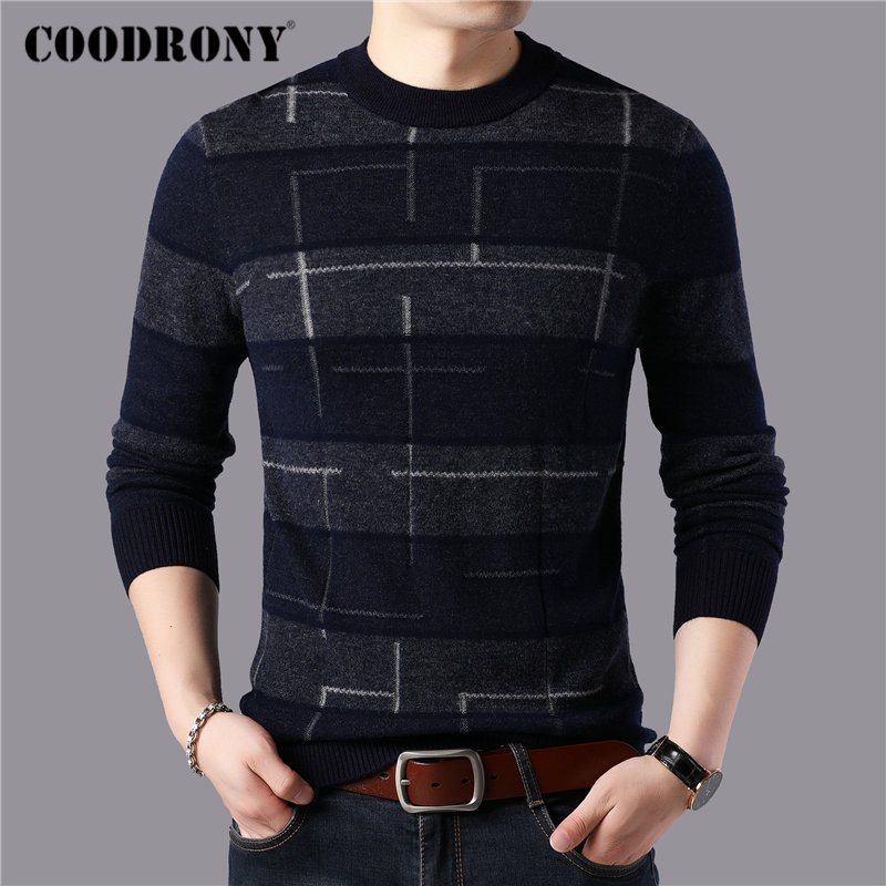 COODRONY Brand 100% Merino Wool Sweater Men Fashion Plaid Pull Homme Winter Thick Warm Sweaters Soft Cashmere Pullover Men 93046