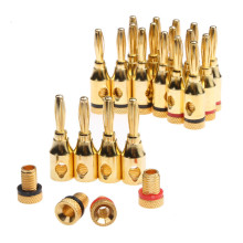 20Pcs 4mm 24k Gold-Plated Musical Cable Wire Banana Plug Audio Speaker Connector Plated Musical Speaker Cable Wire Pin Connector