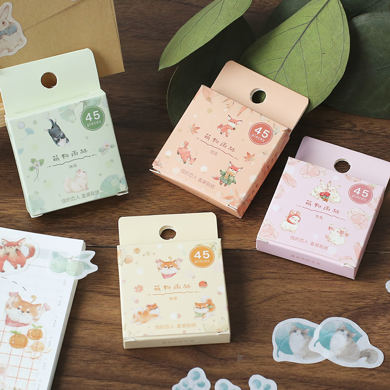 45pcs/box Rainforest animal cat Series Cute Boxed Kawaii Stickers Planner Scrapbooking Stationery Japanese Diary Stickers image