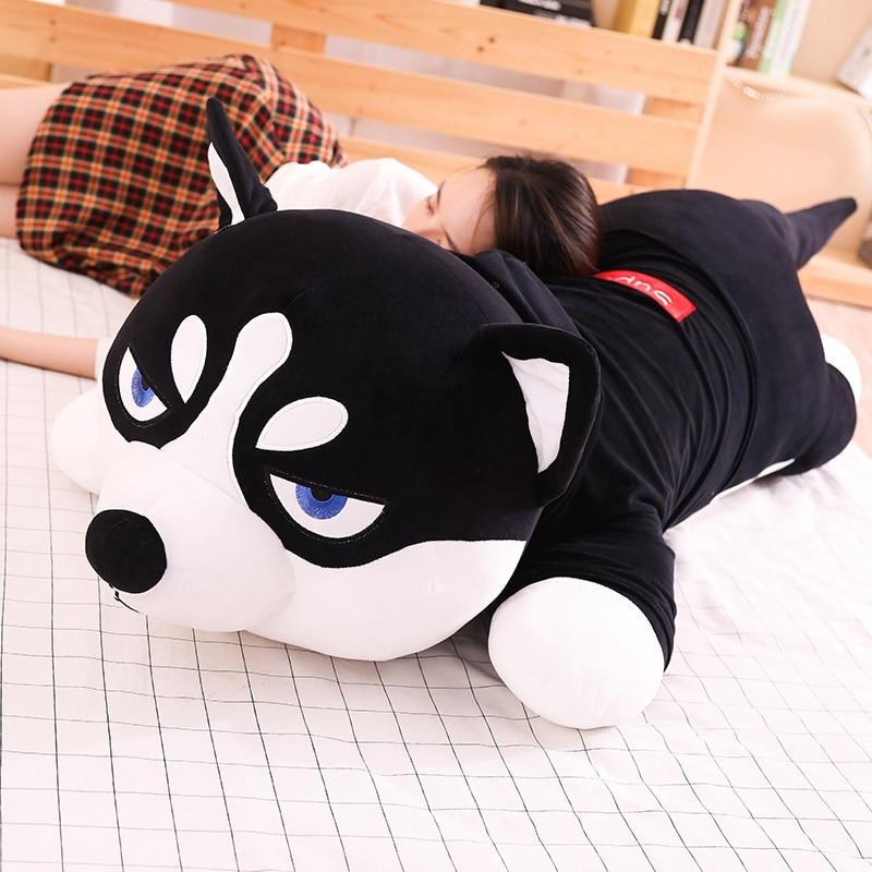 Hot Lovely Funny Dressed Husky Stuffed Doll Stripe Sweater Soft Husky Lying Plush Toy Grey/Black Dog Animals Kids Birthday Gift