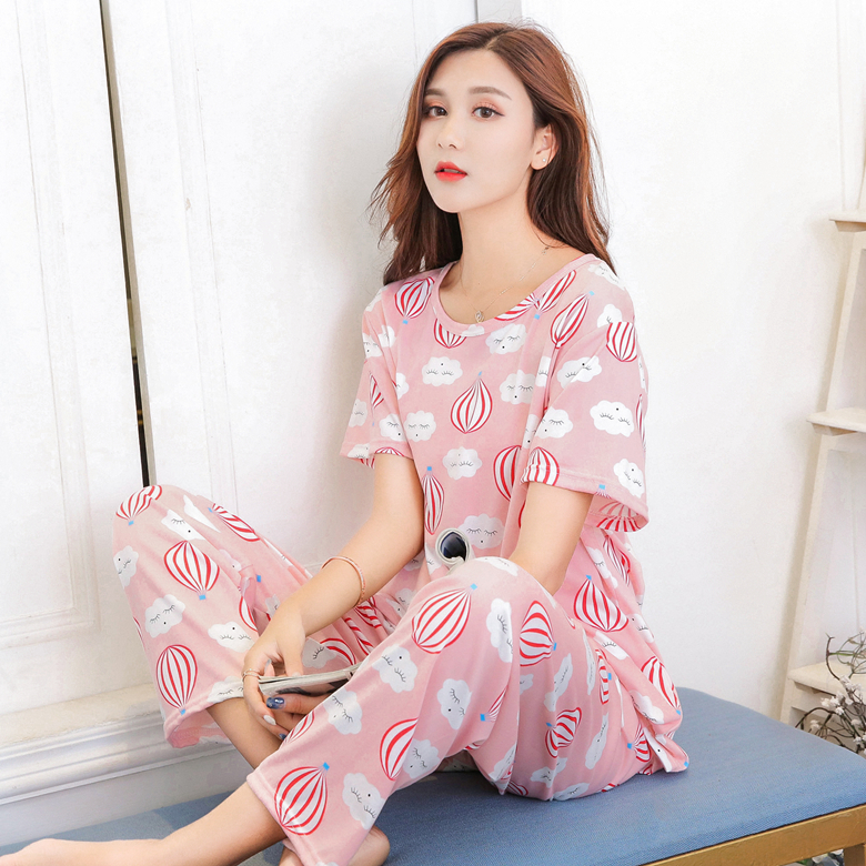 2020 Spring Summer New Fashionable Pajamas For Women Thin Cotton Short Sleeve 2 Pcs  Pyjamas For Girl Comfortable Sleepwear