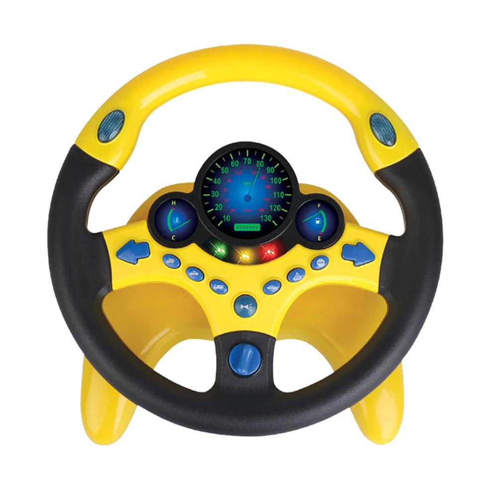 Kids Steering Wheel Toy Pretend Play Electric Steering Driving Wheel Sound Light Education Kids Toy Gift With Suction Cups