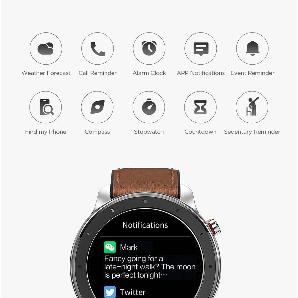 Versión Global Amazfit GTR 47mm reloj inteligente 5ATM reloj inteligente impermeable 24 días batería Control de música cuero silicona Correa - 5