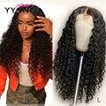 Pelucas de cabello humano Yyong 13x4 con encaje frontal, pelucas con minimechones Indian Deep Wave, cabello humano Remy 130%, pelucas con encaje frontal para mujeres de baja proporción