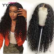 Yyong 13x4 Lace Front Human Hair Wigs With Baby Hair Indian Deep Wave Remy Human Hair 130% Lace Front Wigs For Women Low Ratio(China)