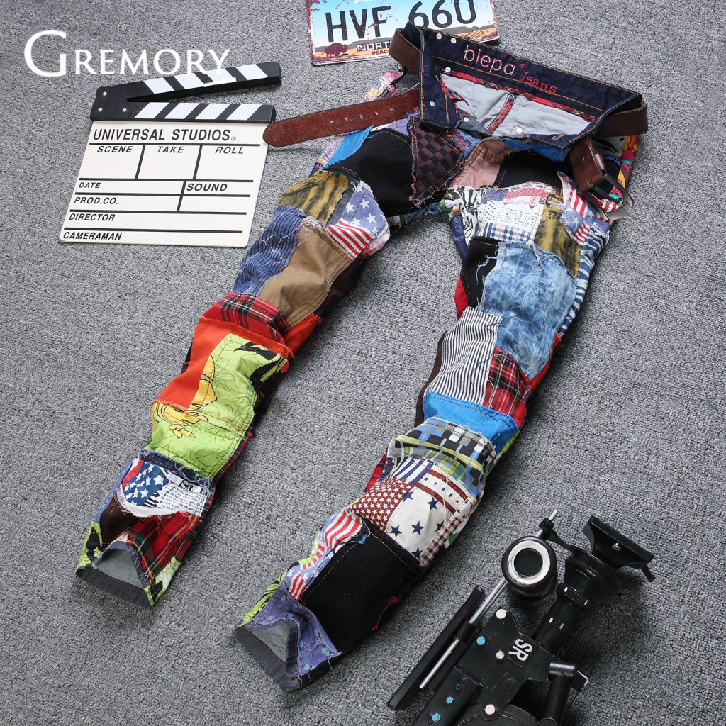 2019 NEW Colorful Jeans Men Denim Pant Patch Jeans Slim Fit Fashion Designer Jeans Fashion Show Jeans Denim Men SA-8