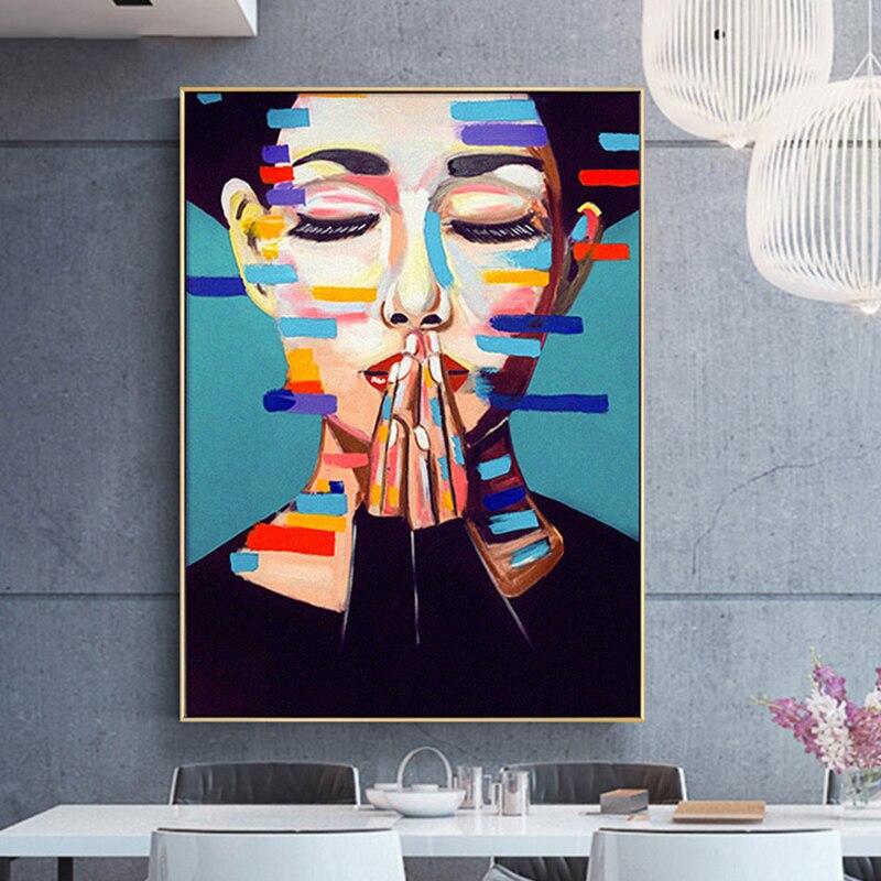 Современный Модный женский постер красочная Абстрактная Картина на холсте в скандинавском стиле Настенная картина для декора гостиной