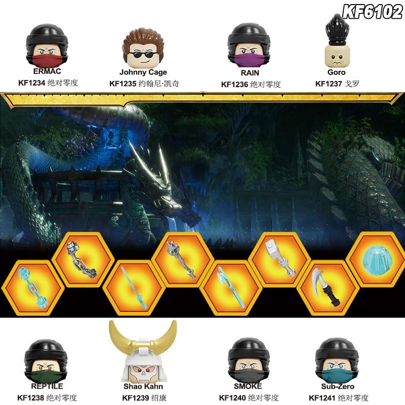 Конструктор Mortal Kombat Kitana Scorpion Sub-Zero Goro Джонни Кейдж Шао Калин модель скорпиона игрушки для детей KF6102 KF6094
