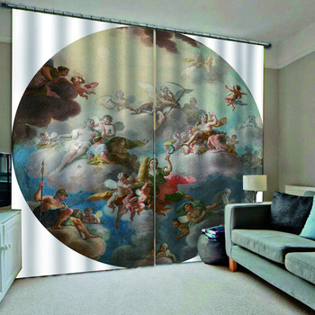 Europe curtains Luxury Angel 3D Window Curtains Living Room wedding bedroom Blackout Drapes