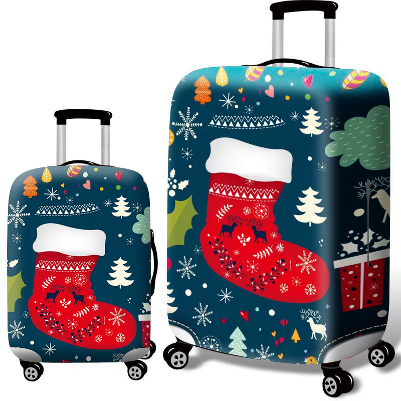 18-24 Inch Luggage Cover Christmas Style Pattern Suitcase Protective Case Stretch Fabric Travel Accessories