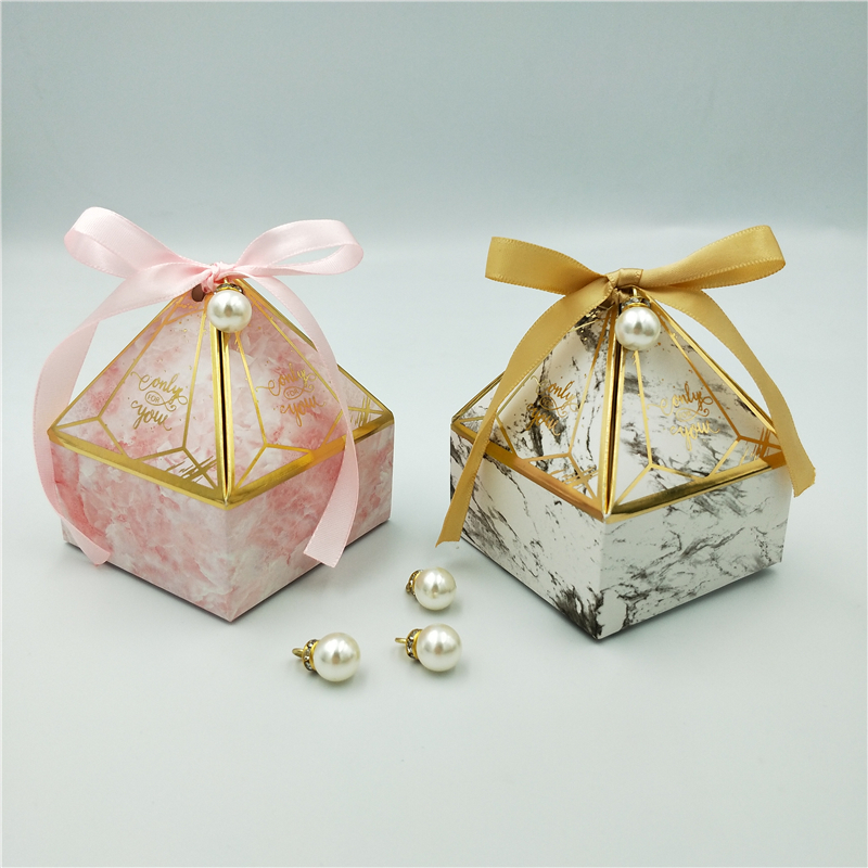 Gift Box Wedding Supplies Party Candy Box Baby Shower Paper Chocolate Boxes New Prismatic Creative Bronzing Packaging Boxes-2