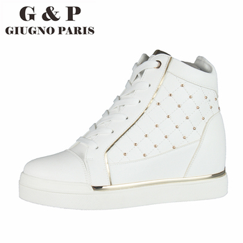 White wedge sneakers fashion high top sneakers platform women shoes rivets height increasing high heel 6 cm shoes leather insole tuinanle chunky sneakers high heel 10 cm women autumn thick bottom platform sneakers height increasing woman silver casual shoes