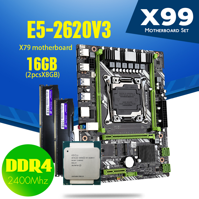 X99 DDR4 2DDR4 DIMM материнская плата с Xeon E5 2620 V3 LGA2011 3 CPU 2*8 ГБ = 16 Гб PC4 RAM 2400 МГц DDR4 память|Материнские платы|   | АлиЭкспресс