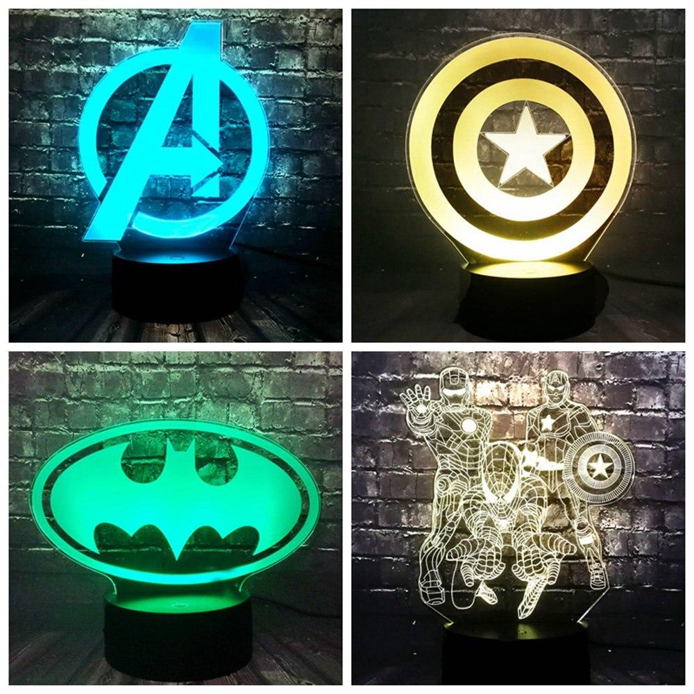 Fashion Marvel 7 Color Change LED The Avengers Iron Man Logo DC Series Batman Logo Cartoon Night Light Holiday Birthday Kid Gift