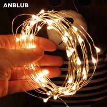 2M 5M 10M girlanda żarówkowa LED lights srebrny drut świąteczne girlandy girlandy led bajkowe oświetlenie ozdoby choinkowe do pokoju domowego drzewo tanie tanio ANBLUB CN (pochodzenie) 1 year CHRISTMAS Z tworzywa sztucznego Żarówki led Brak Klin Suche baterii 500cm 1-5 m MULTI green