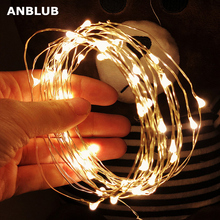 ANBLUB 2M 3M 5M 10M Outdoor LED String lights Holiday New Year Fairy Garland For Christmas Tree Wedding Party Decoration cheap 1 year Plastic LED Bulbs None Wedge Dry Battery 500cm 1-5m Multi Green Yellow Pink Blue White Warm White 51-100 head silver wire