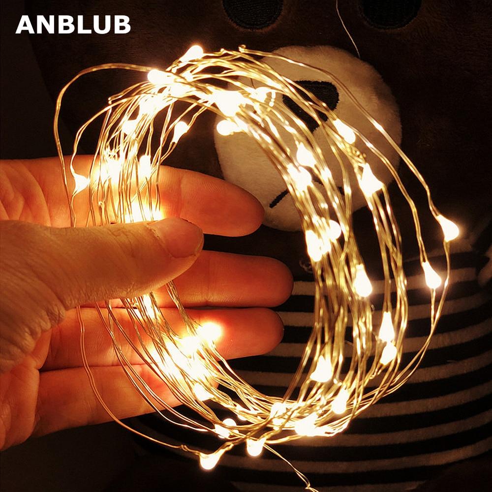 Anblub cordão de luz de led, para uso externo 2 m 3 m 5 m 10 m feriados ano novo guirlanda de pisca-pisca para o natal decoração de árvore de casamento
