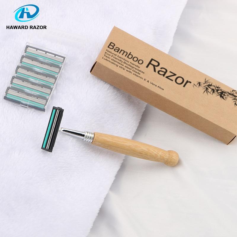 HAWARD Razor Eco Friendly Bamboo Handle Twin Blade Razor Hair Removal Travel Razor Replaceable Razor Head Blade Cartridge