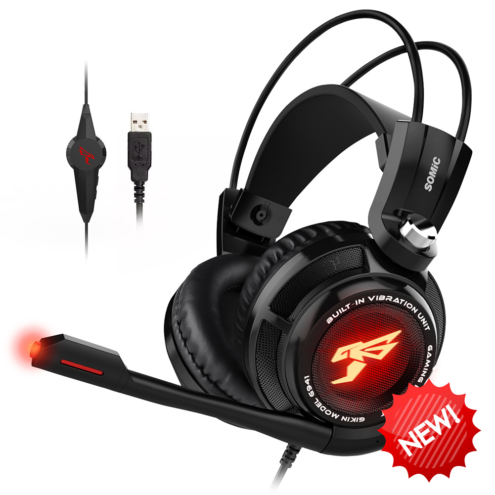 Somic G941 USB Wired Vibration LED Gaming Headset 7.1 Surround Sound Stereo Gamer Headphone With Mic For Computer PC Laptop|Headphone/Headset| - AliExpress