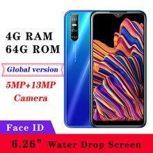 Wasser Tropfen Bildschirm 8A Gesicht id entsperrt Quad Core 13MP 4GB RAM 64GB ROM 6,26 inch Smartphones Android handy Billig Celulares
