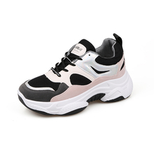 YeddaMavis Shoes Pink Daddy Women Sneakers New Korean Wild Thick Bottom PU Lace Up Womens Woman Trainers