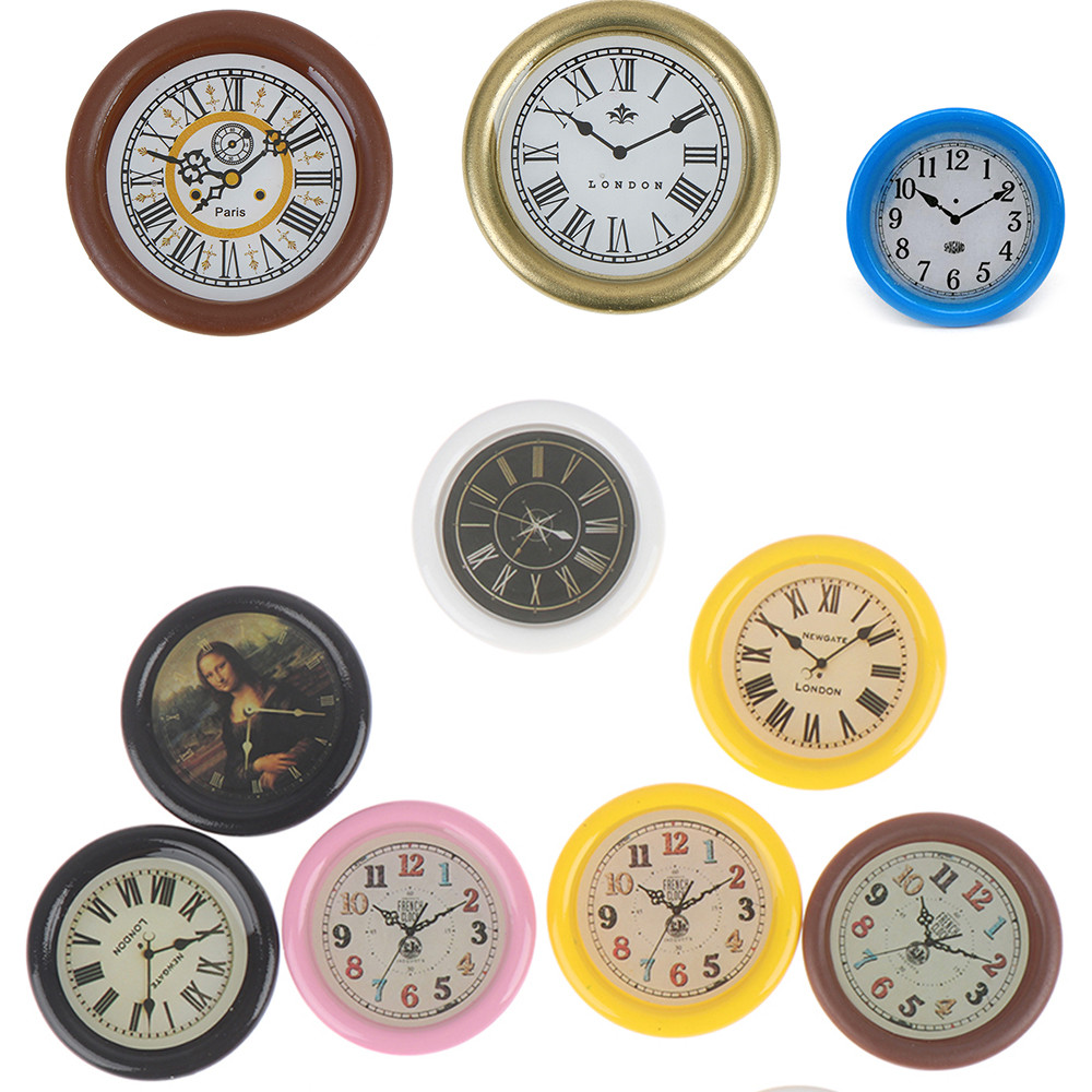 1:12 Resin Dollhouse Miniature Wall Clock Play Doll House Miniaturas Home Decor Accessories Toy Pretend Play Furniture Toy