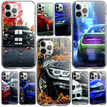 Red And Blue Bmw Car Phone Case For Iphone 5 6 7 8 11 12 Plus XR X XS SE2020 11/12PRO Max Transparent Cases image