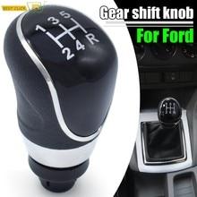 Palanca de cambios de 5 velocidades para coche Ford Focus MK2 MK3 Fiesta MK7 c-max b-max Mondeo MK4 Kuga Transit Galaxy, estilismo para coche