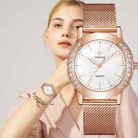 WWOOR Luxus Diamant Damen Uhren 2021 Top Marke Mode Frauen Quarz Armbanduhr Rose Gold Mesh Band Armband Uhr Für frauen