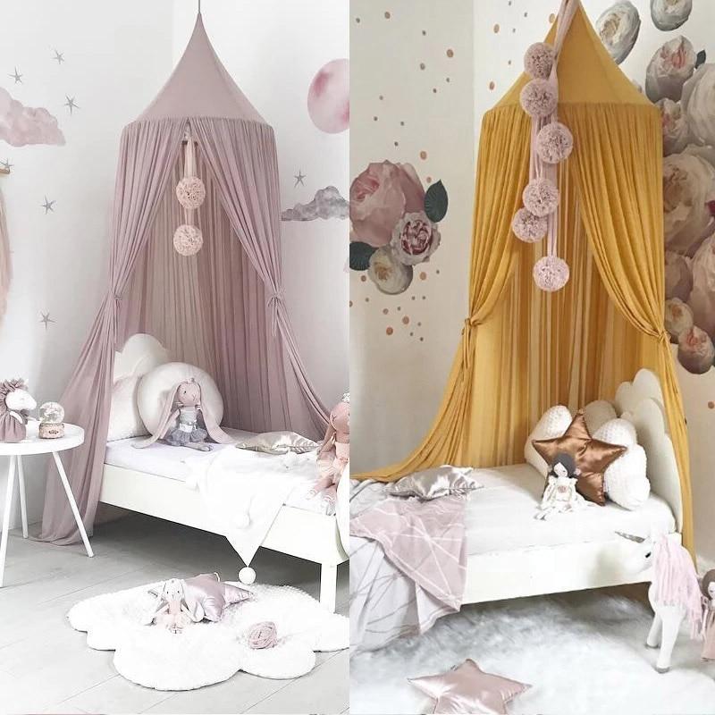 Cortinas de cama para bebês, cortina para cama de princesa, meninas, brincar de barraca, pendurada em cobertura redonda, dome, crianças bebê do bebê