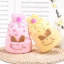Print Smile Face Baby Hats Wool Newborn Rabbit Ear Turban Beanie Warm Caps Soft Hat For Girls Boys Elastic Bonnet Autumn Winter