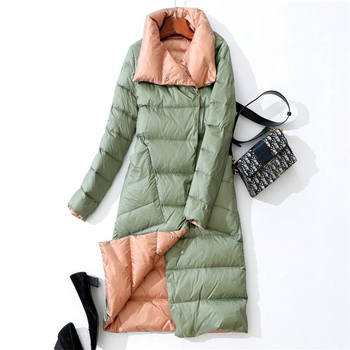 2019 Women Winter Coat Stand Collar White Duck Down Inner Women Light Long Jacket Coat Women Coat Casaco Feminino Parkas 3