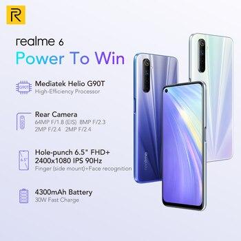 Перейти на Алиэкспресс и купить Realme 6 8 Гб 128 мобильный телефон на процессоре Helio G90T 30 Вт мгновенная зарядка 4300 мА/ч, 64-мегапиксельная четырехъядерная камера глобальная Верси...