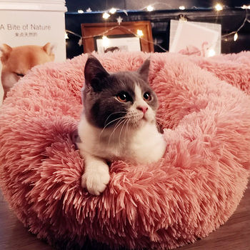 Winter long hair pet cat dog bed and nest Kennel Dog Cat Puppy Cushion Mat Portable Cat Warm Soft Supplies image