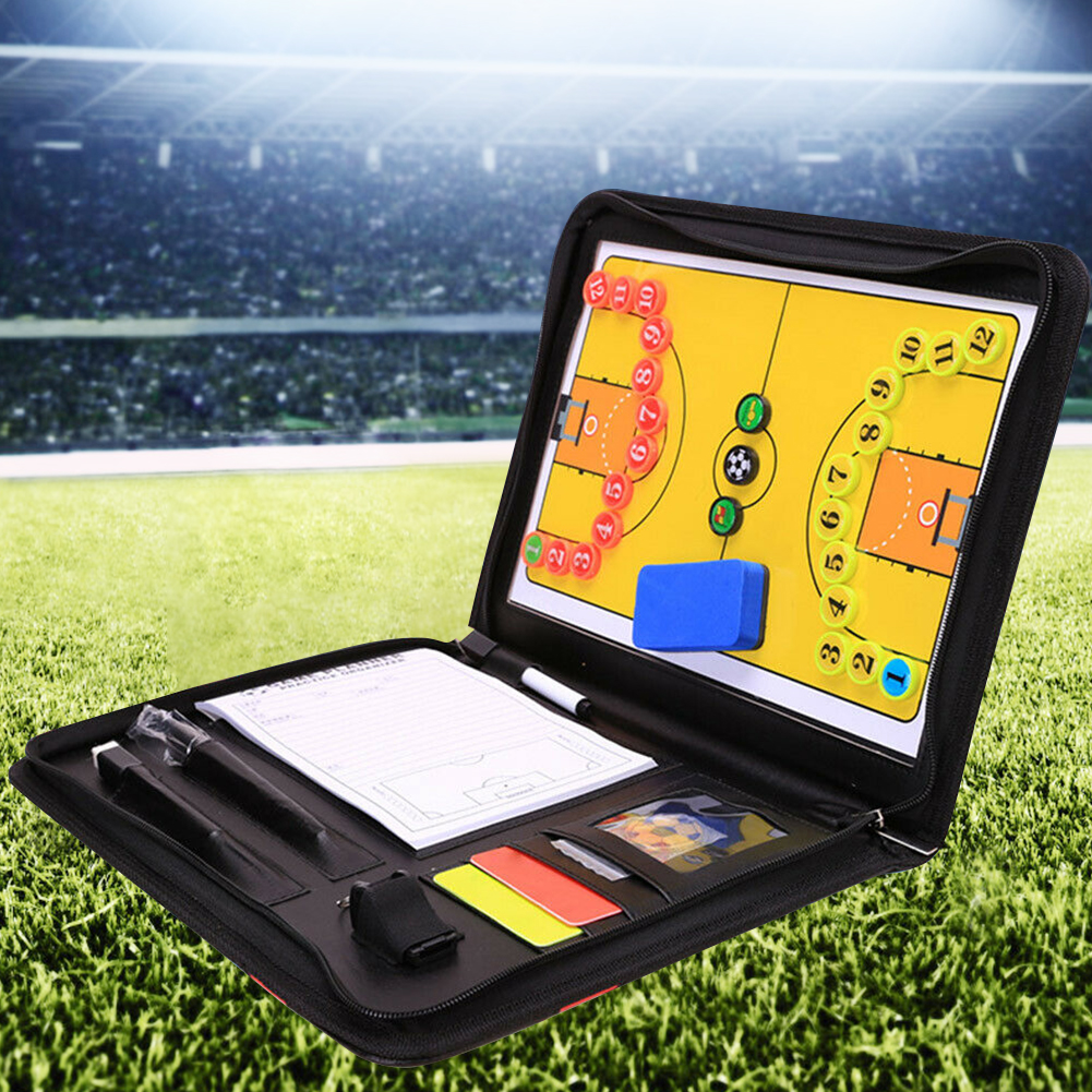 Foldable PU Leather Football Tactical Board Training Coaching Kit Professional Soccer Volleyball Sports Handball Tactical Board