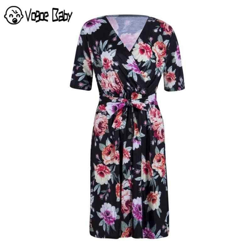 Sexy Mutterschaft Sommer A-linie Kleid Für Schwangere Frauen Chic Plus Größe Schwangerschaft Kleidung Floral Bogen Lose Dobby Halbe Hülse Kleid