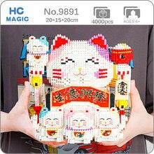 HC 9891 şanslı servet kedi kumbara para kutusu hayvan evcil hayvan modeli DIY Mini elmas blokları tuğla yapı oyuncak çocuk hiçbir kutu
