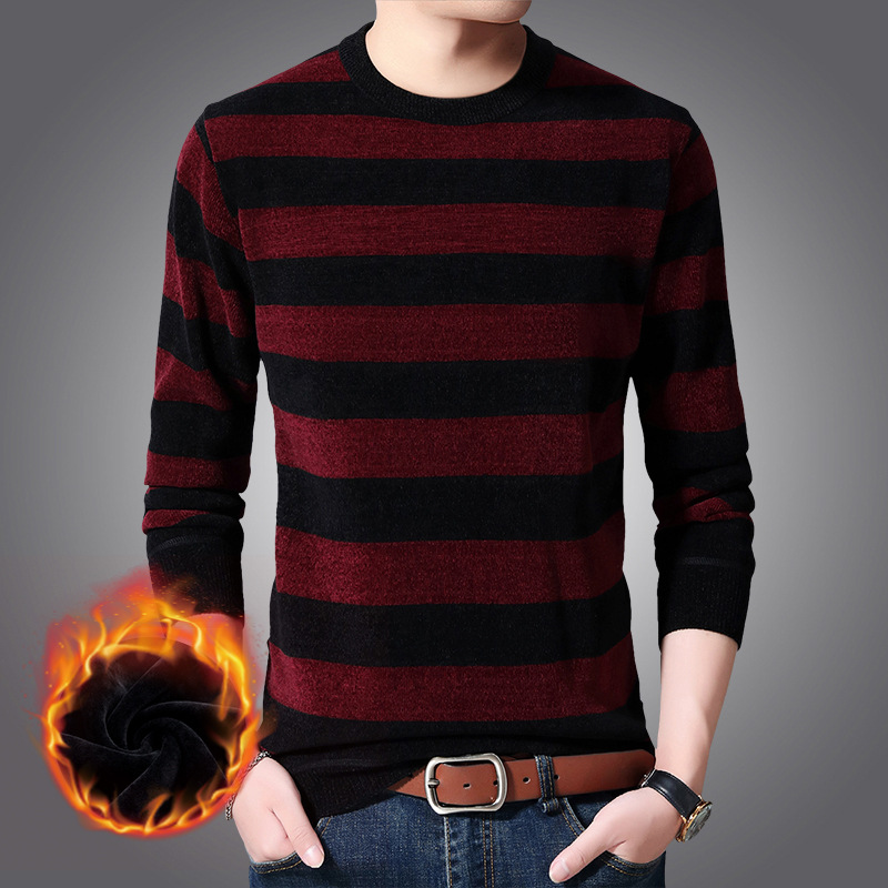 Mens Sweaters 2019 New Velvet Thick Warm Sweater Men's Trend Round Neck Striped Men's Knitted Bottoming Sweaters